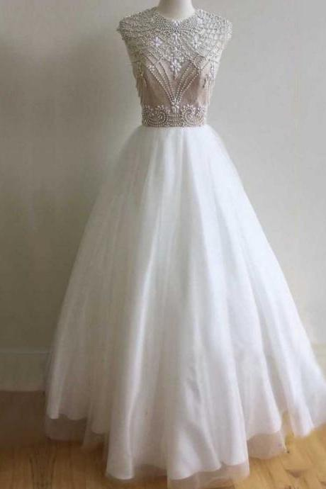 Ball Gown Scoop Neck Tulle Floor-length Beading Open Back Elegant Prom Dresses