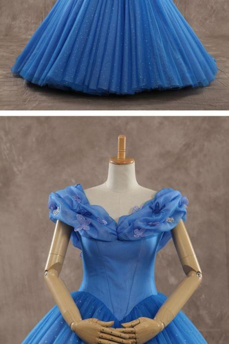 Dreamy Off the shoulder Basque Train Tulle Blue Glow Sleeveless Quinceanera Dress with Appliques