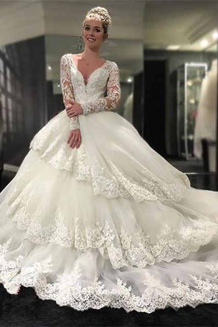 Gorgeous Long Sleeve V-neck Open Back Lace Ball Gown Wedding Party Dresses