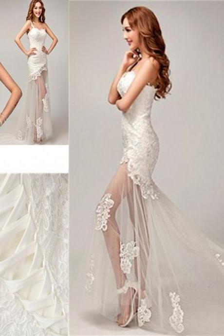 Chic Design One Shoulder Lace Top See Through Sexy Mermaid Lace Up Wedding Dresses
