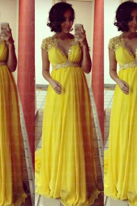 Yellow prom dress, cap sleeve prom dress, maternity prom dress, elegant prom dress, party dress, dress for prom