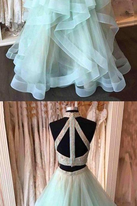 Two Pieces Beading Prom Dress,Long Prom Dresses,Charming Prom Dresses,Evening Dress, Prom Gowns, Formal Women Dress