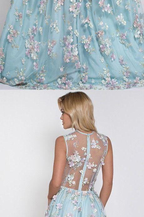 Hot Selling Deep V-neck Light Sky Blue Prom Dress with Flowers prom,prom dress,2017 prom dress,blue prom dress,long prom dress