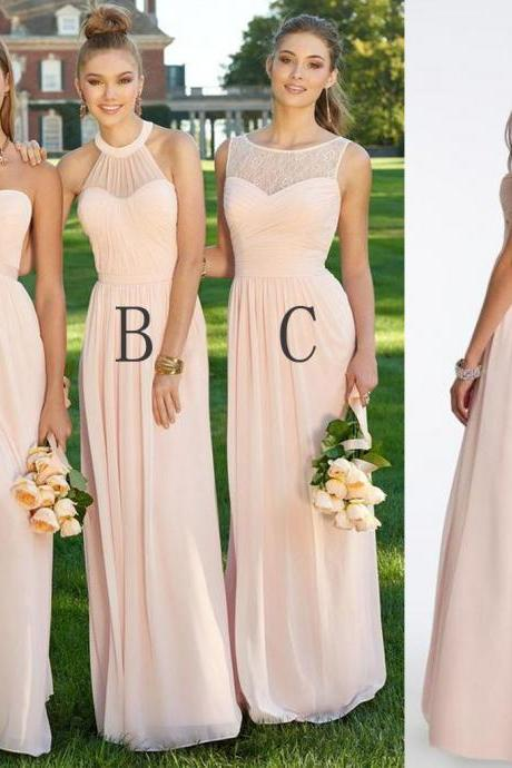 2017 Chiffon Mismatched Blush Pink Modern Formal Floor-Length Cheap Bridesmaid Dresses