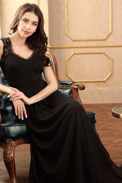 Women's Casual Deep- V Neck Sleeveless Vintage Maxi Prom Dresses,Chiffon Bridesmaid Dress