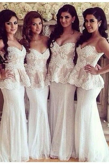 White Sweetheart Sleeveless Sweep Train Mermaid Bridesmaid Prom Dress with Lace