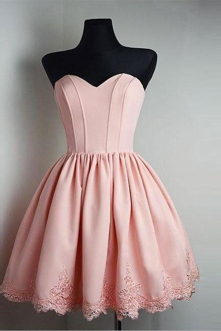 Simple Homecoming Dresses,Pink Homecoming Dress,Lace Homecoming Dress,Short Homecoming Dress,Strapless Homecoming Dress