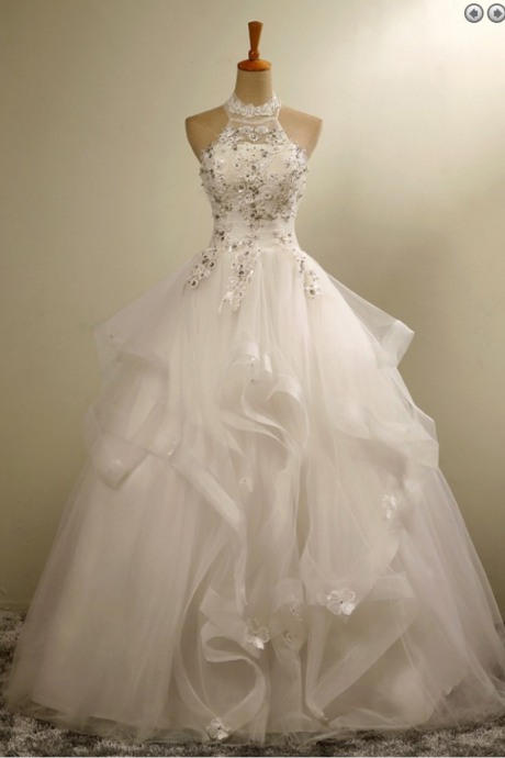 Stylish Halter Floor-Length Organza Wedding Dress with Appliques Beading