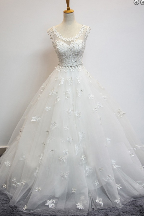 Delicate Scoop Cap Sleeves Floor-Length Wedding Dress with Beading Appliques