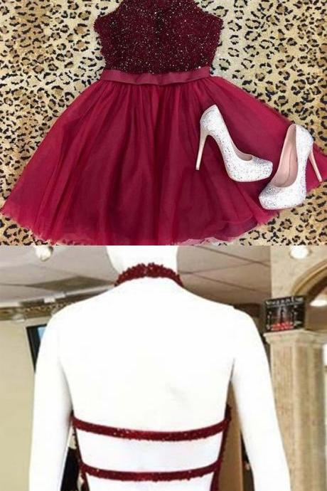 Sexy A-Line Halter Backless Burgundy Tulle Homecoming Dress with Beading