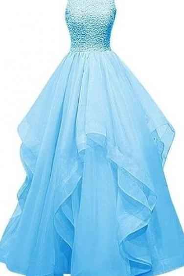 Long Prom Dresses,Light Blue Prom Dresses,Ball Gown Prom Dresses, Pretty Prom Dresses,Open Back Prom Dresses