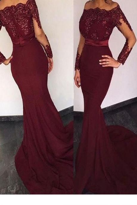 Long Custom Prom Dress,Burgundy Prom dress, Long sleeve prom dress, Prom dress with lace, Mermaid prom dress, Evening Prom Gown, Sexy prom dress, Charming prom dress