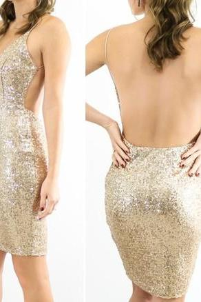 Simple Sequin Shiny Open Back Short Mermaid Homecoming Dresses,Party Dresses,Cocktail Dresses