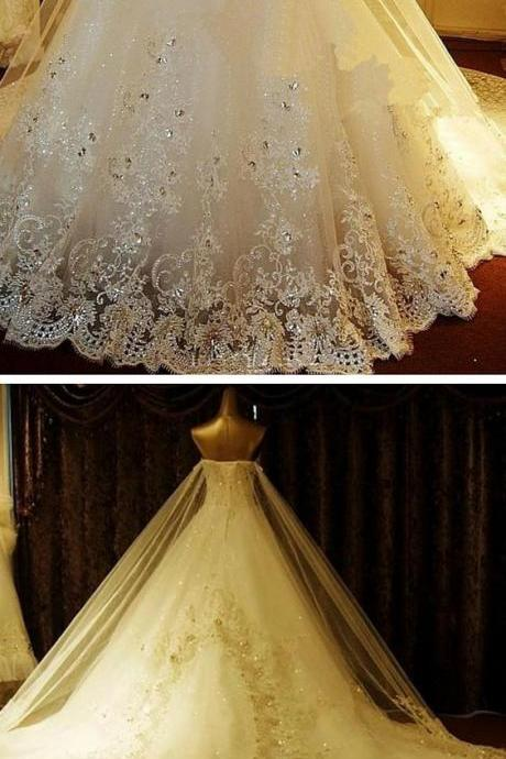 A-Line Sweetheart Cathedral Train Tulle Wedding Dress with Beading Appliques Embroidered