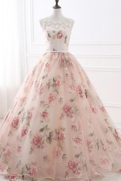 Flowers Pearls Pattern Appliques Organza Floor Length Ball Gown Sleeveless Long Prom Dress