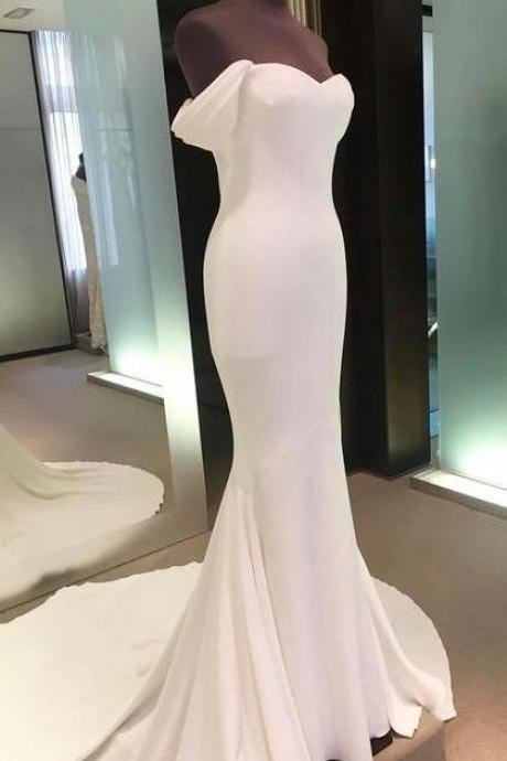 off shoulder backless prom gown, White Cheap prom dress,mermaid long prom dress,spandex evening gowns