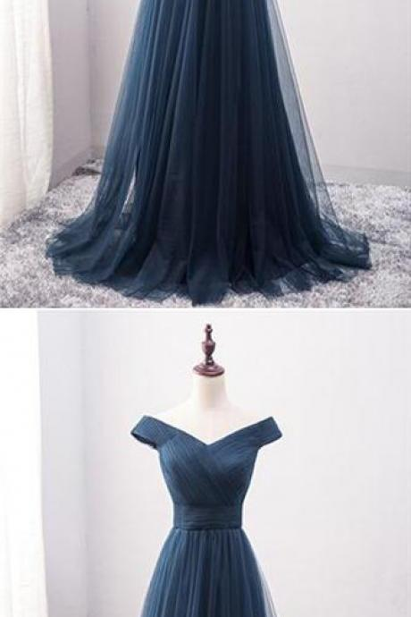 Navy Blue Prom Dresses,Off The Shoulder Prom Dresses,Long Prom Dresses,Evening Dresses,Bridesmaid Dresses,Simple Cheap Prom Dresses