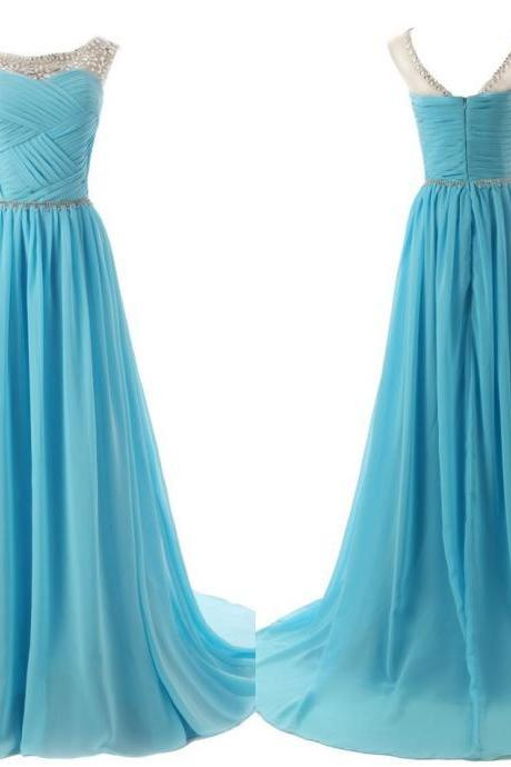 The Chiffon charming Prom Dresses, Floor-Length Evening Dresses, Prom Dresses, A-Line Real Made Prom Dresses