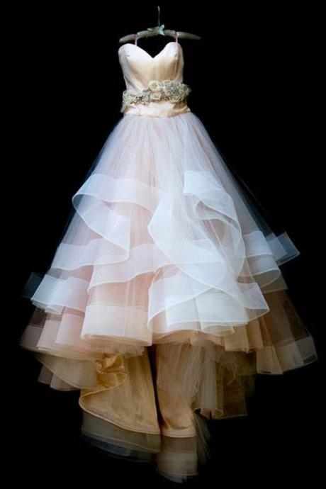 Champagne Bodice and White Skirt Wedding Dress with Horsehair Trim (the sash is not included)