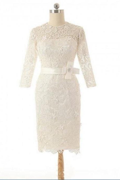 Short Lace Homecoming Dress Outlet, Full sleeve Short/Mini Lace Zipper Dresses