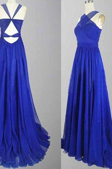 A-Line Floor Length Chiffon Sleeveless Royal Blue Long Prom Dresses
