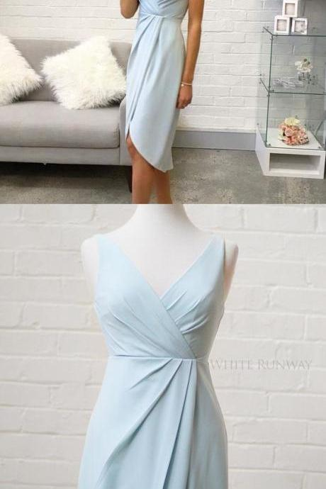 Bridesmaid dresses, short bridesmaid dresses, light sky blue bridesmaid dress, wedding party dress
