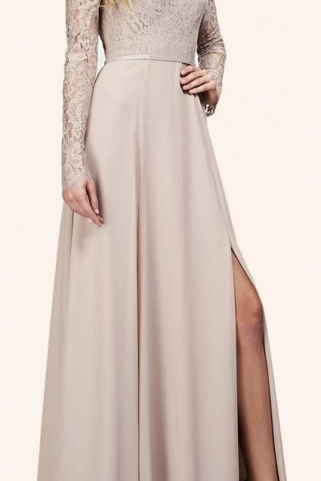 Off the Shoulder Long Sleeves Maxi Bridesmaid Dress Evening Formal Gown