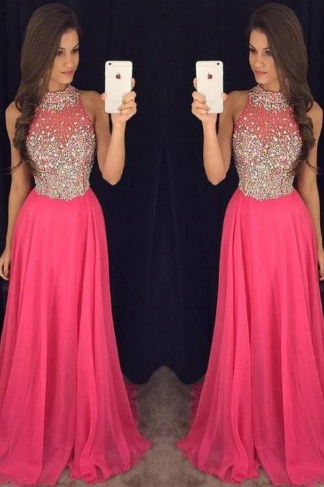 Long Prom Dresses,A-line Formal Dresses, High Neck Chiffon Party Dresses,Tulle Beading Evening Gowns
