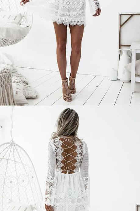 A-Line V-Neck Long Bell Sleeves Criss-Cross Straps Short White Lace Homecoming Dress