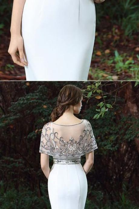 White Cape Embroidery Beaded Formal Dress,Mermaid Prom Dresses,Floor Length Evening Dresses,Prom Dresses