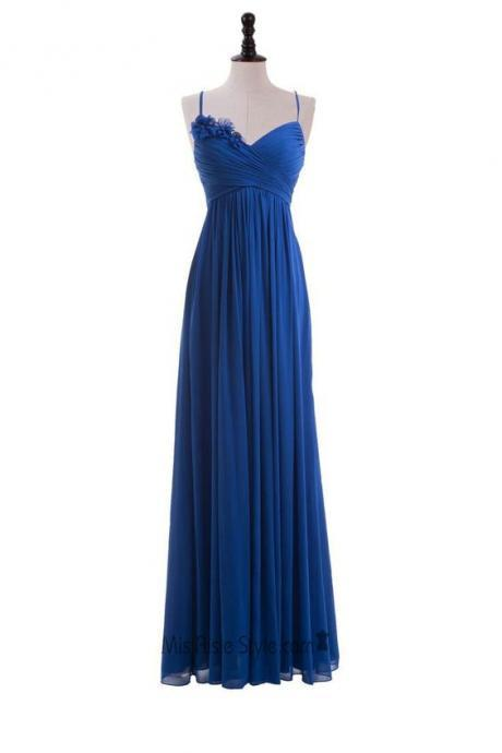 Royal Blue Floral Embellished Ruched Plunge V Spaghetti Straps Floor Length A-Line Formal Dress, Prom Dress