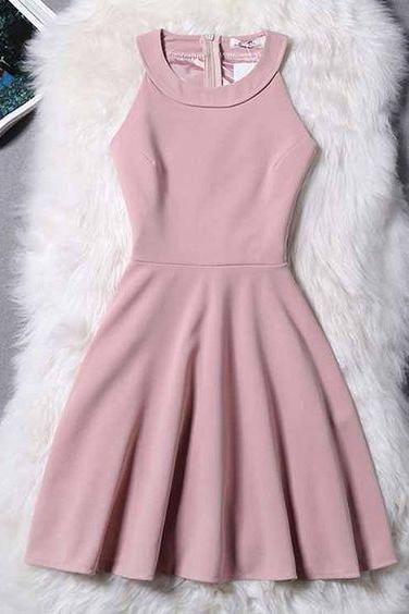 Halter Neck Short Skater Dress,Homecoming Dresses,Satin Short Prom Dresses