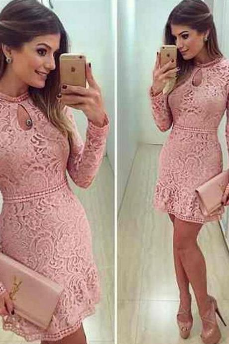 Lace dress,pink Prom Dress,Sexy lace party dress,Elegant short O neck Prom Dresses,Long sleeve Party dresses