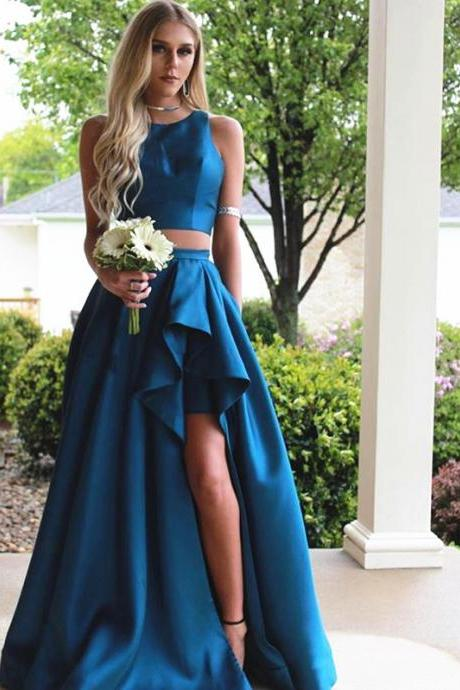 Prom Dresses 2017 two piece prom dress,teal green prom dress,slit dress,2 piece dress