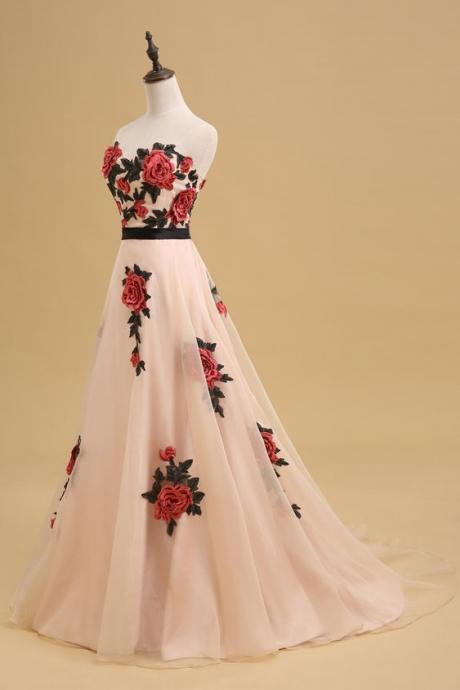Elegant Sweetheart Prom Dress, Open Back A-Line Prom Dress, Floral Printed Long Prom Dress