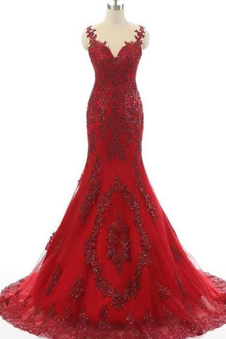 Trumpet Mermaid Scoop Neck Tulle Court Train Appliques Lace Red Prom Dress