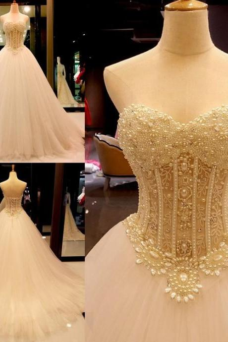 Ball Gown Sweetheart Tulle Court Train with Crystal Detailing Wedding Dresses