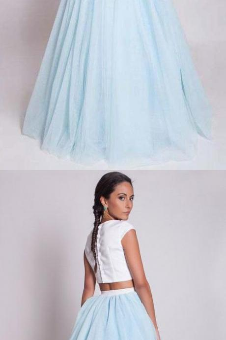 Two Piece Prom Dresses Long, Light Sky Blue Party Dresses Princess, Scoop Neck 2018 Formal Evening Gowns Satin Tulle with Ruffles