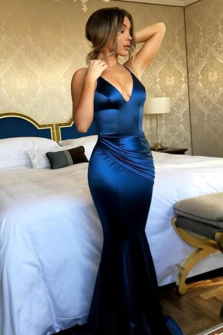 2018 New Mermaid Shirt Dress Prom Dresses,Sexy Prom Dresses,Backless Evening Dresses