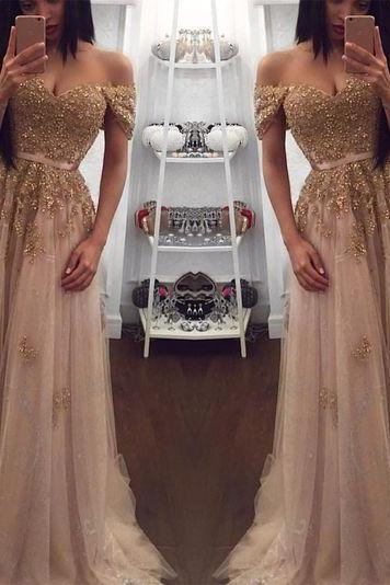 Champagne Evening Gowns,Tulle Prom Dress,Sweetheart Dress,Long Bridesmaid Dresses,Lace Dresses