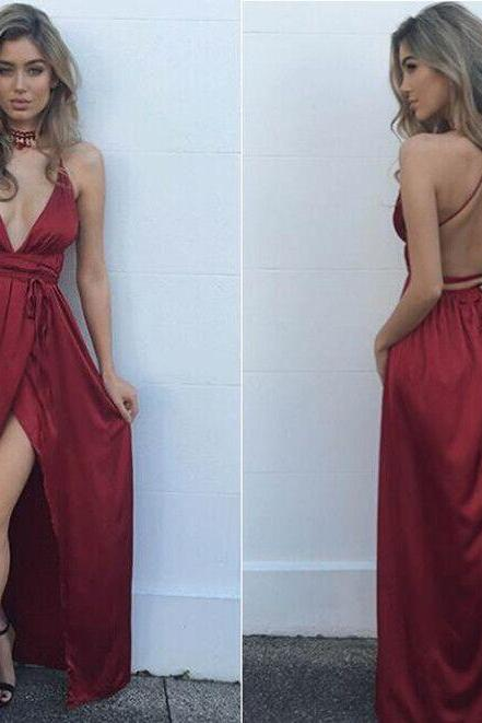 Backless Prom Dress,Split Prom Dress,Fashion Prom Dress,Sexy Party Dress,Custom Made Evening Dress