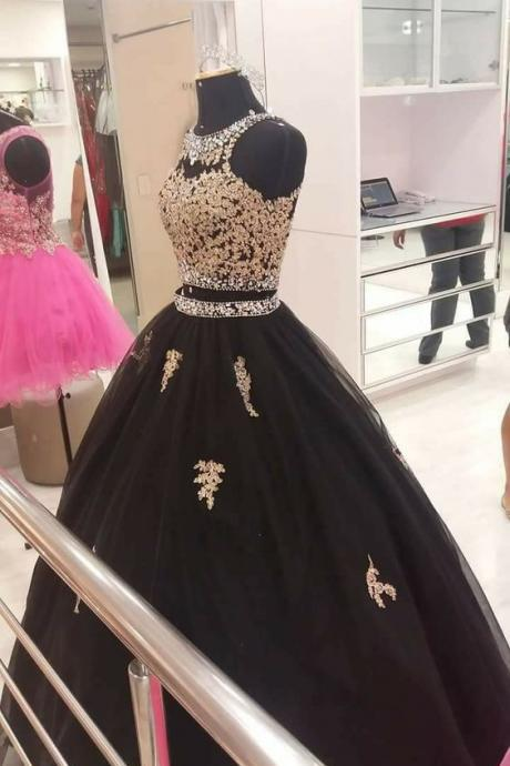 Charming Two Pieces Prom Dresses,Ball Gowns,Waist with Beadings,Floor Length Evening Dresses