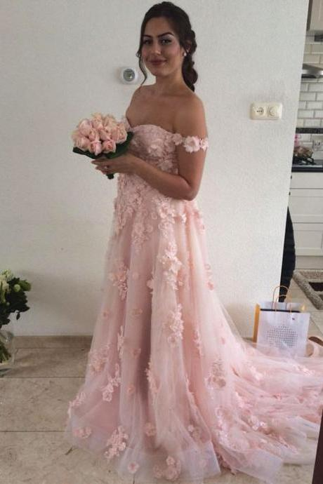 Chic Lace Flower Off The Shoulder Tulle Long Prom Dresses 2018