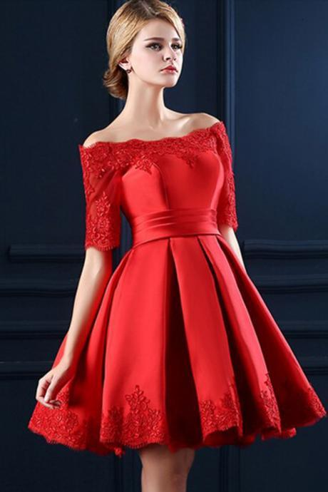 Boat Neckline Red Lace Short Prom Dresses,Homecoming Dresses
