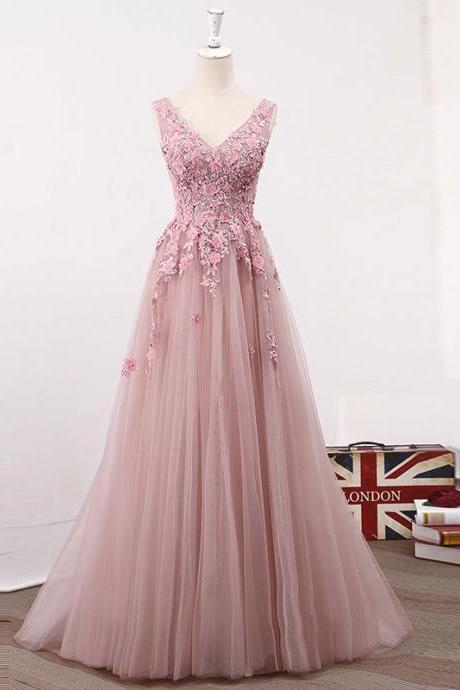 Blush Pink V Neckline Two Straps Lace Evening Prom Dresses, 2018 Party Prom Dress, Custom Long Prom Dress, Cheap Party Prom Dress