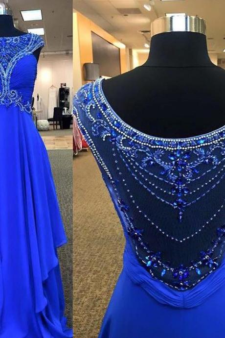 Royal Blue Chiffon with Beaded Prom Dresses,Long Formal Dresses