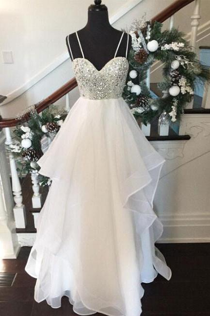 WHITE SWEETHEART RHINESTONE LONG PROM DRESSES, WHITE EVENING DRESSES