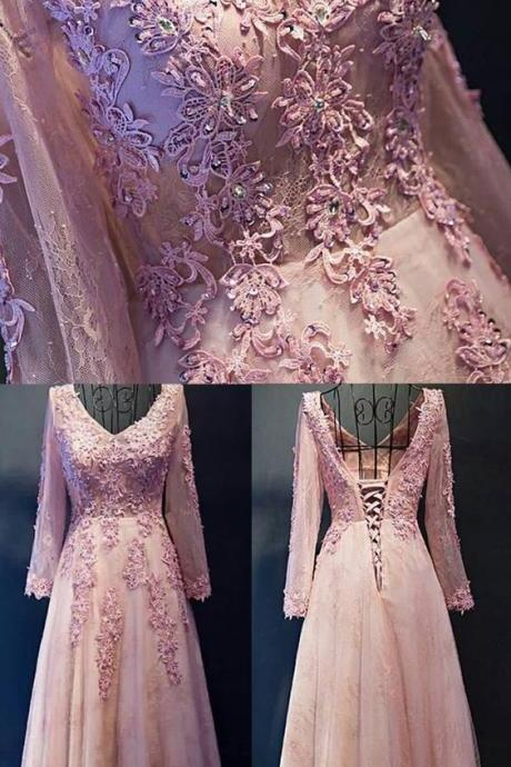 Hot Sale Long Sleeve Evening Prom Dress Long Pink Prom Dresses With Tulle Lace Up Lace Magnificent Dresses