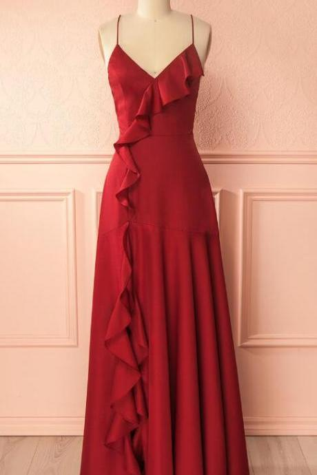 Simple Burgundy Prom Dress,V Neck Cheap Long Prom Dress,Lace up Back Formal Dress,Prom Dress with Ruffles,PD 274
