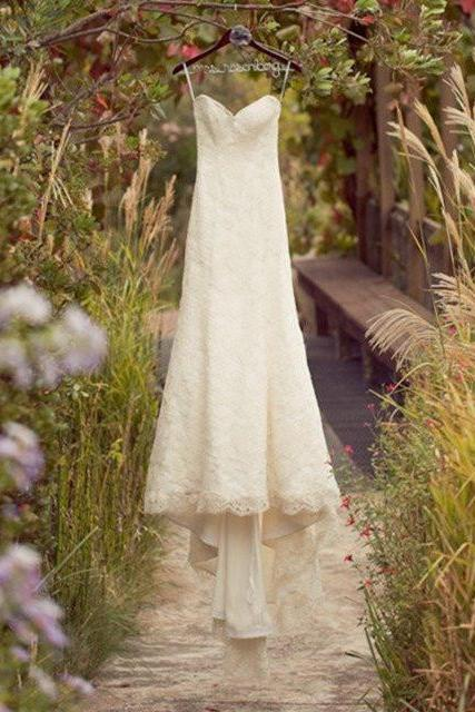 Long A-line Wide Lace Shoulder Strap Deep V-back Sleeveless Train Sweetheart Full Lace Country Wedding Dress,WD 281